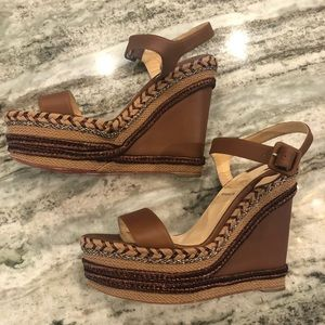 Christian Louboutin Brown Leather Wedges
